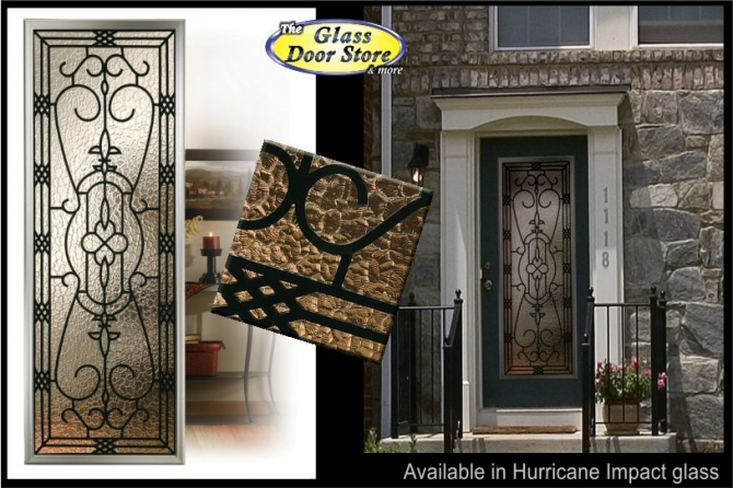 Exterior fiberglass door with hurricane impact glass door inserts wrought iron