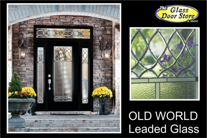 Exterior fiberglass door with hurricane impact glass door inserts Old World traditional