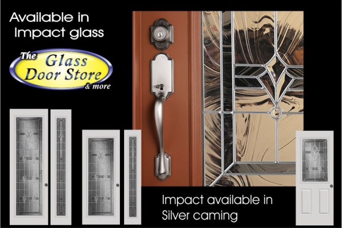 Exterior fiberglass door with hurricane impact glass door inserts craftsman
