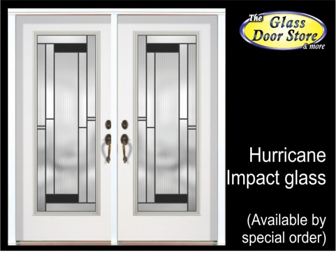 Exterior fiberglass door with hurricane impact glass door inserts modern
