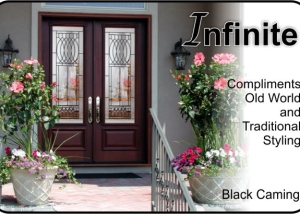 Old world traditional front entry door with glass inserts