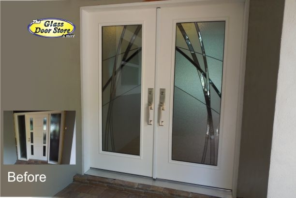 Front door inserts with modern design in double doors