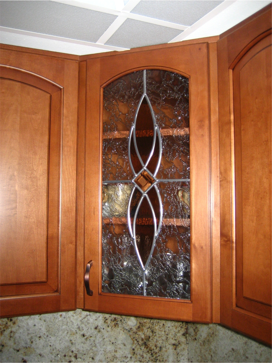stained glass corner cabinet in kitchen