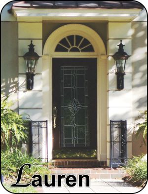 Single front door with decorative glass insert