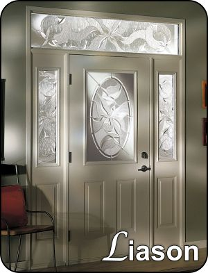 Glass door insert with sliding metal panels between the glass