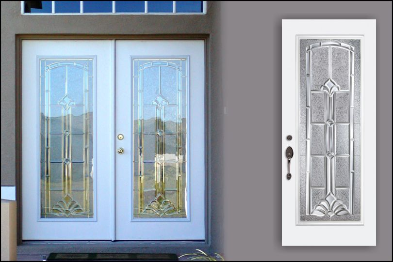 double smooth fiberglass front doors with Marquise glass door inserts & Marquise Beveled Traditional Glass Door Pezcame.Com