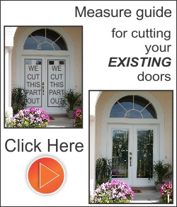 Cut the existing exterior fiberglass or steel door to add decorative glass inserts