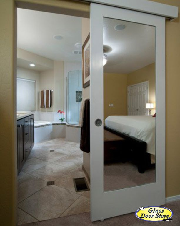 Bathroom Mirror Door barn doors |barn door track - the glass door store