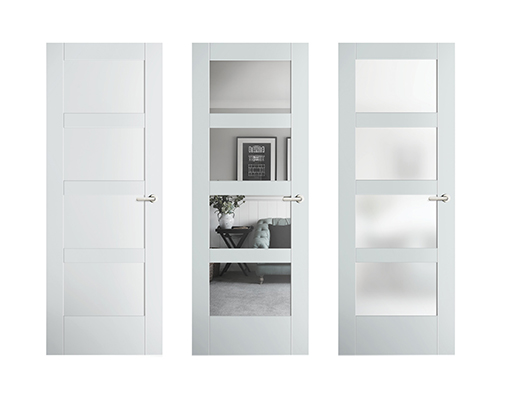 Modern interior doors with clear or frosted glass