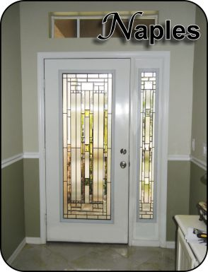 Linear glass door insert for front entry door