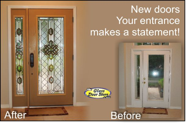 New fiberglass front door with matching side window installed in front entryway using ODL Aragon glass door insert