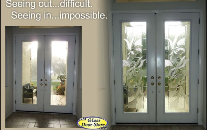 replace the clear glass inserts in tall double doors with decorative glass door inserts