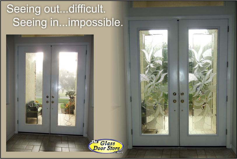 ... Replace The Clear Glass Inserts In Tall Double Doors With Decorative Glass  Door Inserts