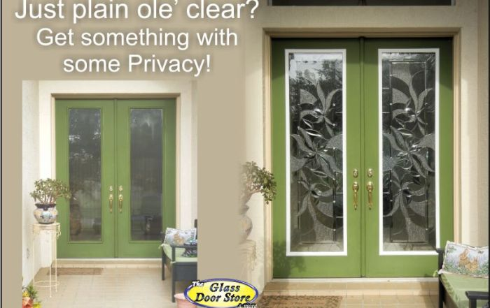 Change the glass in double front doors from clear to privacy glass