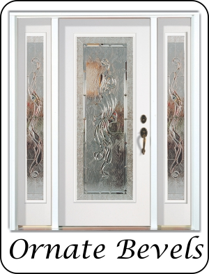 Modern laminated glass for the front entry exterior door with side windows
