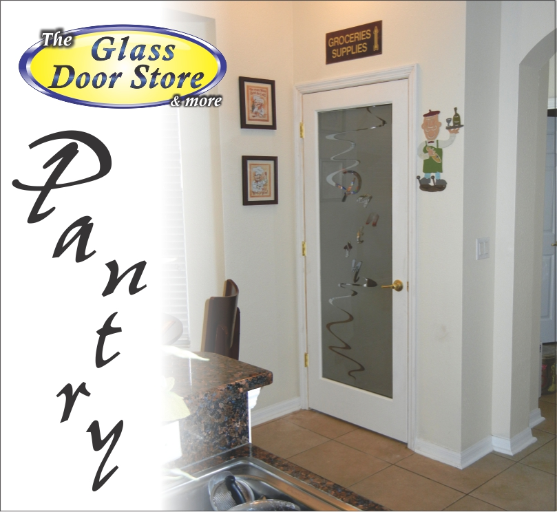 Pantry door custom glass etching with Pantry text