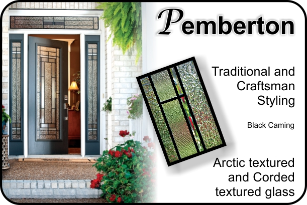 glass door insert with textured glass in modern traditional or craftsman style