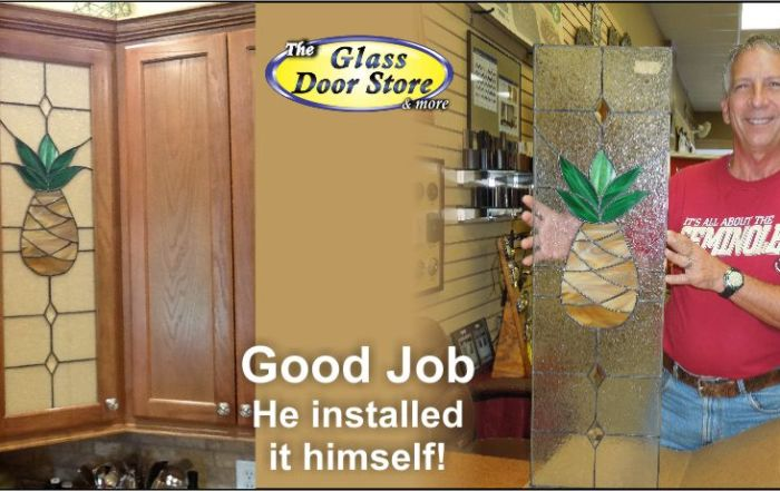 Pineapple stained glass kitchen cabinet picked up at Tampa Glass door store