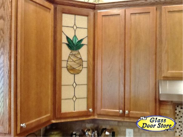Pineapple stained glass kitchen cabinet