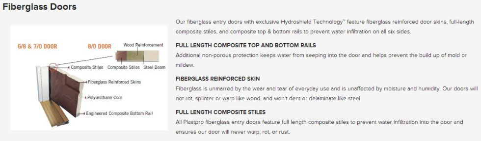 Reinforced fiberglass doors and door frames
