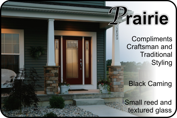 Prairie style craftsman front door with glass inserts