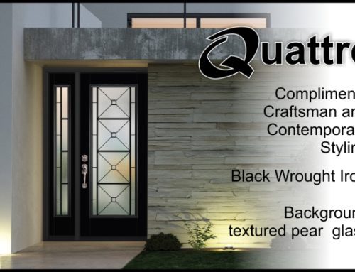 Quattro Modern Wrought Iron Glass Door Insert