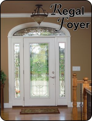 Regal Foyer has traditional styling and unique satin silver caming. Available in most glass door sizes.