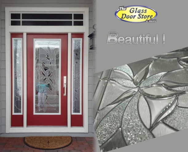 Renewed glass inserts in red door with double sidelights