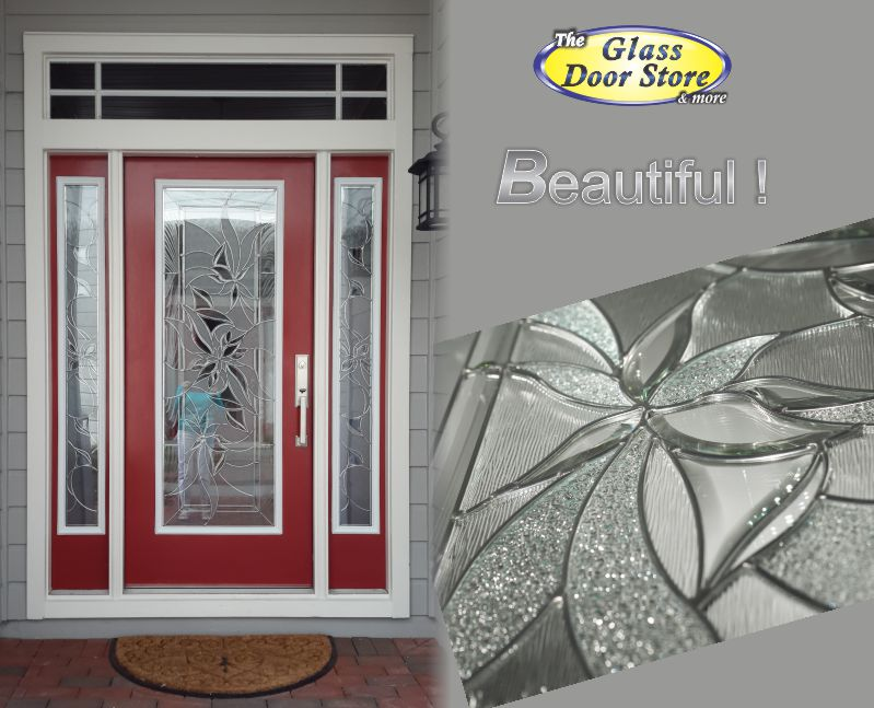 Red Door With Glass : Renewed casual and modern glass door insert