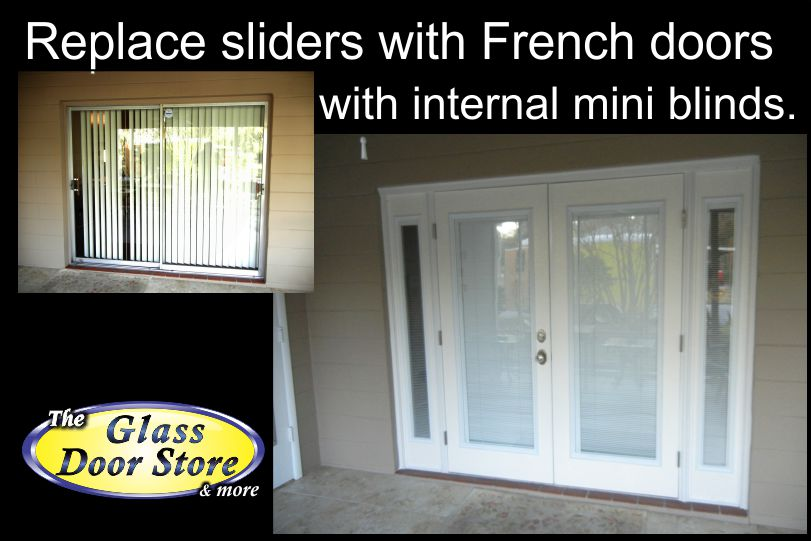 Replace sliding glass door with french doors for Replace window with door
