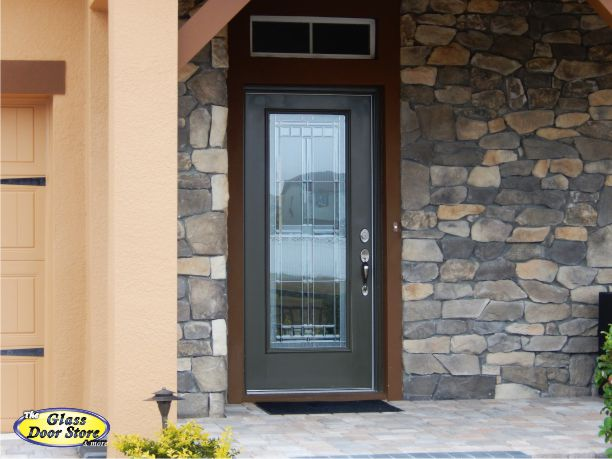Saratoga front door glass insert in fiberglass front door for Single front doors with glass