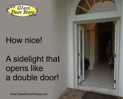 Single front door with sidelight that opens