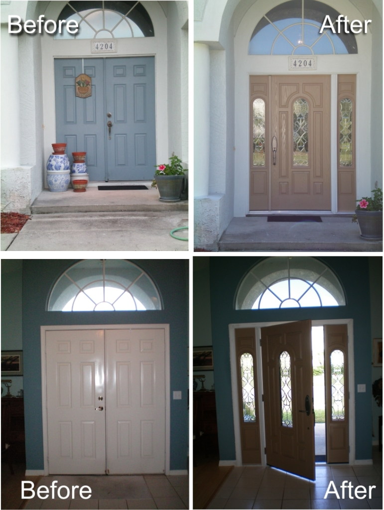 Single door with active and inactive sidelight