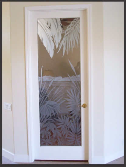 Single office door with etched glass tropical design