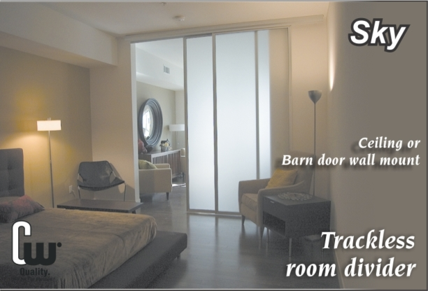Sky trackless sliding glass room divider doors