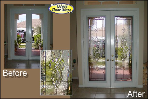 Glass door inserts for exterior door with privacy