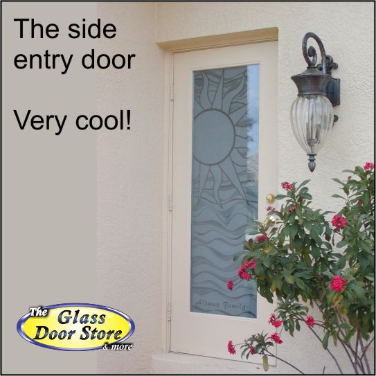 etched glass side door with sun and waves & Sun etched side entry door - The Glass Door Store