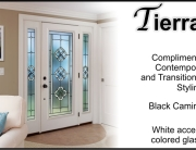 Front door glass insert for fiberglass exterior door with white accents