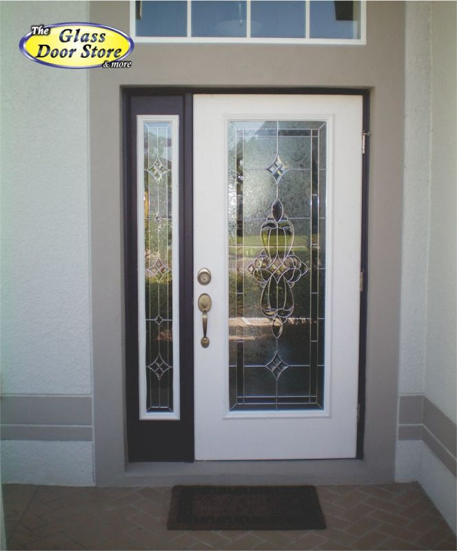 A Single Front Door With Matching Side Window Traditional Glass Insert
