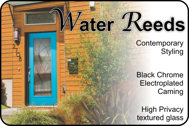 Waterside Water reeds glass door insert