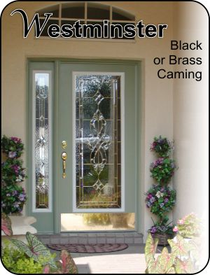 Traditional formal glass insert for steel or fiberglass doors for single or double doors