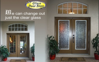 Wrought iron glass door insert to replace clear glass in front entryway