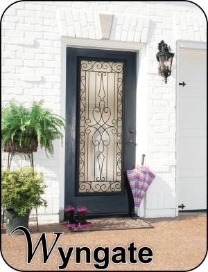 Wrought Iron and Old World type design Glass Inserts for fiberglass doors