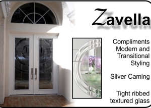 Modern fiberglass front entry door with modern glass double door insert
