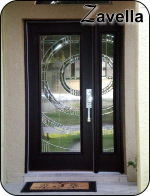 Masonite Modern glass for the front entry exterior door with silver metal caming
