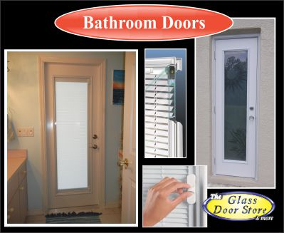 Bathroom Doors with miniblinds between the glass or etched glass or textured glass for privacy