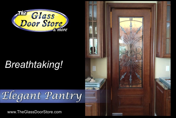 Interior pantry glass door with wrought iron