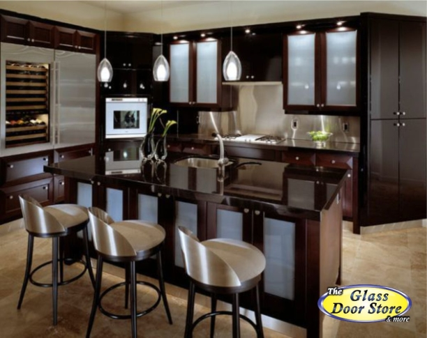 Frosted glass is kitchen cabinets