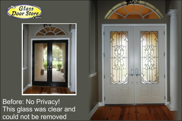 Replace front entry double doors with Plastpro fiberglass and wrought iron glass inserts