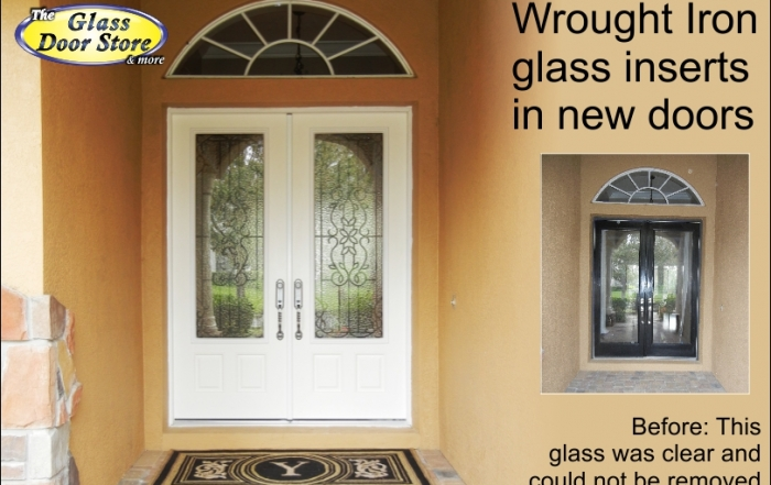 Fiberglass Entry Doors With Glass Inserts : Wrought iron glass door inserts with matching handle